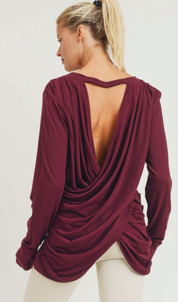 Mono B Open Overlay Draped Back Top