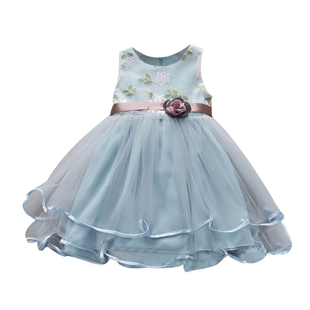 Baby Girls Summer Dress Sleeveless Floral O-Neck Dresses Wedding Party Clothes
