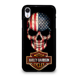 coque custodia cover fundas iphone 11 pro max 5 6 7 8 plus x xs xr se2020 C20656 HARLEY DAVIDSON SKULL FLAG iPhone XR Case