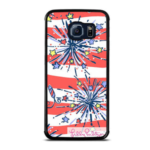 coque custodia cover fundas hoesjes j3 J5 J6 s20 s10 s9 s8 s7 s6 s5 plus edge D31945 LILLY PULITZER JULY 4th #1 Samsung Galaxy S6 Edge Case