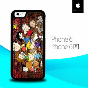 Peanuts In Background Wood Art O3497 fundas iPhone 6, iPhone 6S