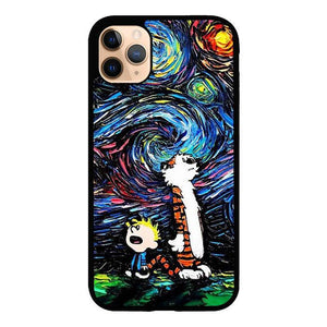 coque custodia cover case fundas hoesjes iphone 11 pro max 5 6 6s 7 8 plus x xs xr se2020 pas cher X8538 Calvin and Hobbes Art Starry Night X9177