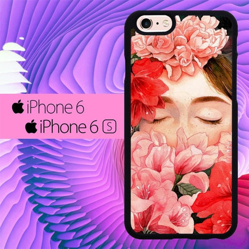 Girl With Flower L0361 fundas iPhone 6, iPhone 6S
