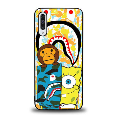 coque custodia cover fundas hoesjes j3 J5 J6 s20 s10 s9 s8 s7 s6 s5 plus edge B36129 Spongebob Wearing a BAPE J0028 Samsung Galaxy A50 Case