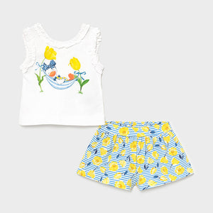 Printed Shorts Set for Baby Girl Yellow
