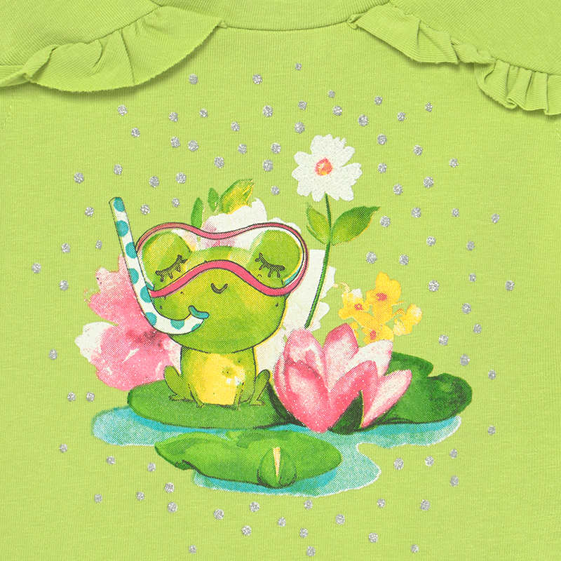 Short Set Frog for Baby Girl Pistachio