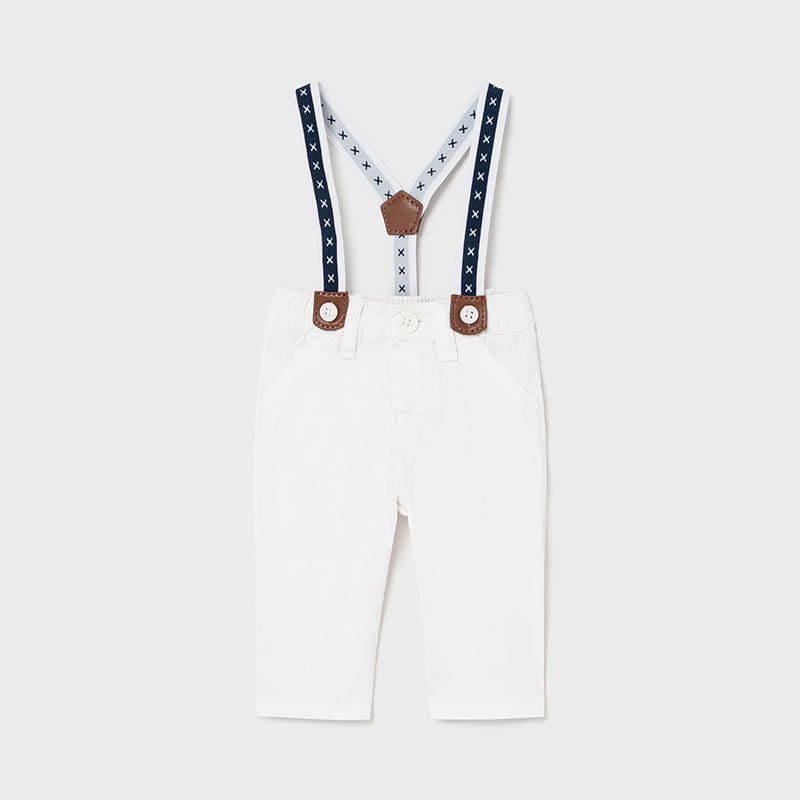 Long Trousers With Suspenders for Newborn Boy White