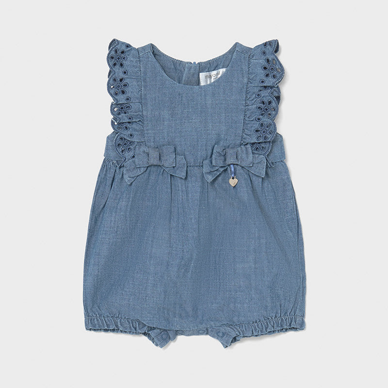 Short Dungaree for Newborn Girl Blue Denim