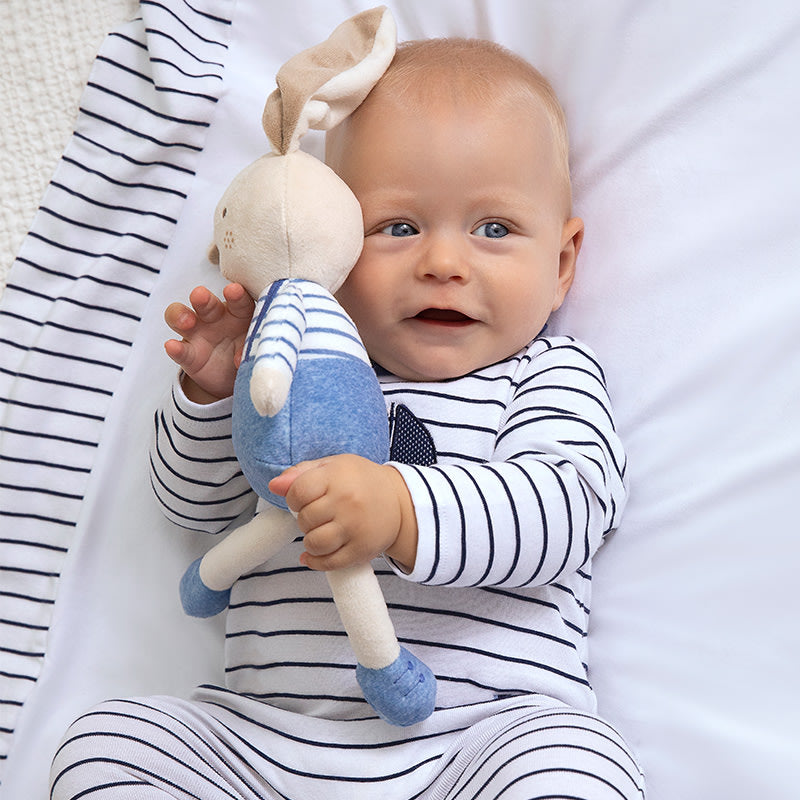 Striped Long Onesie for Newborn Boy Navy