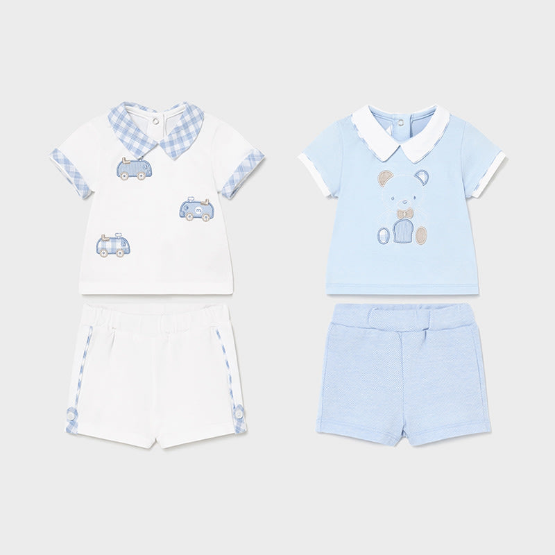 4 Pieces Knit Set for Newborn Boy Sky
