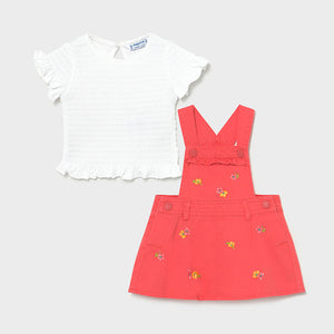 Embroided Skirt Overall Set for Baby Girl Coral