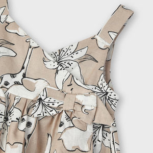 Patterned Linen Blouse for Girl Camel