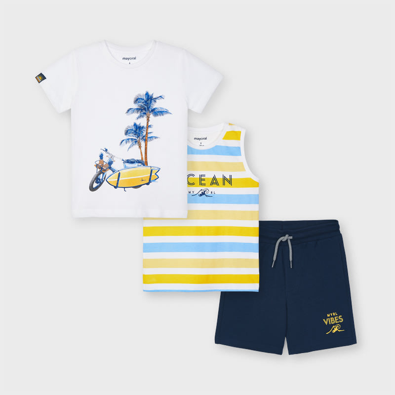 Knit Set With 2 T-shirts for Boy Yellow