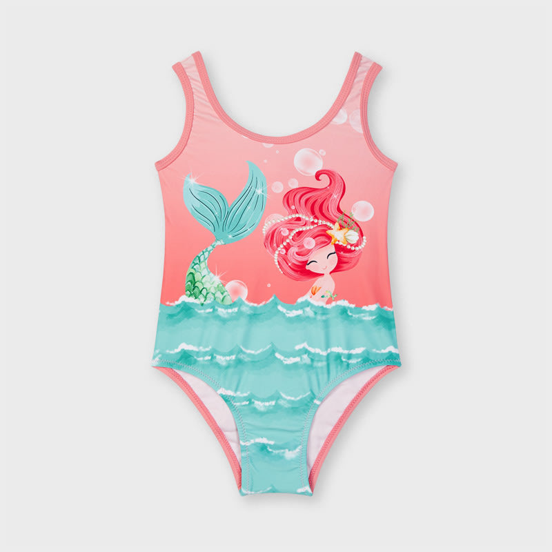 Graphic Print Swimsuit for Girl Flamingo