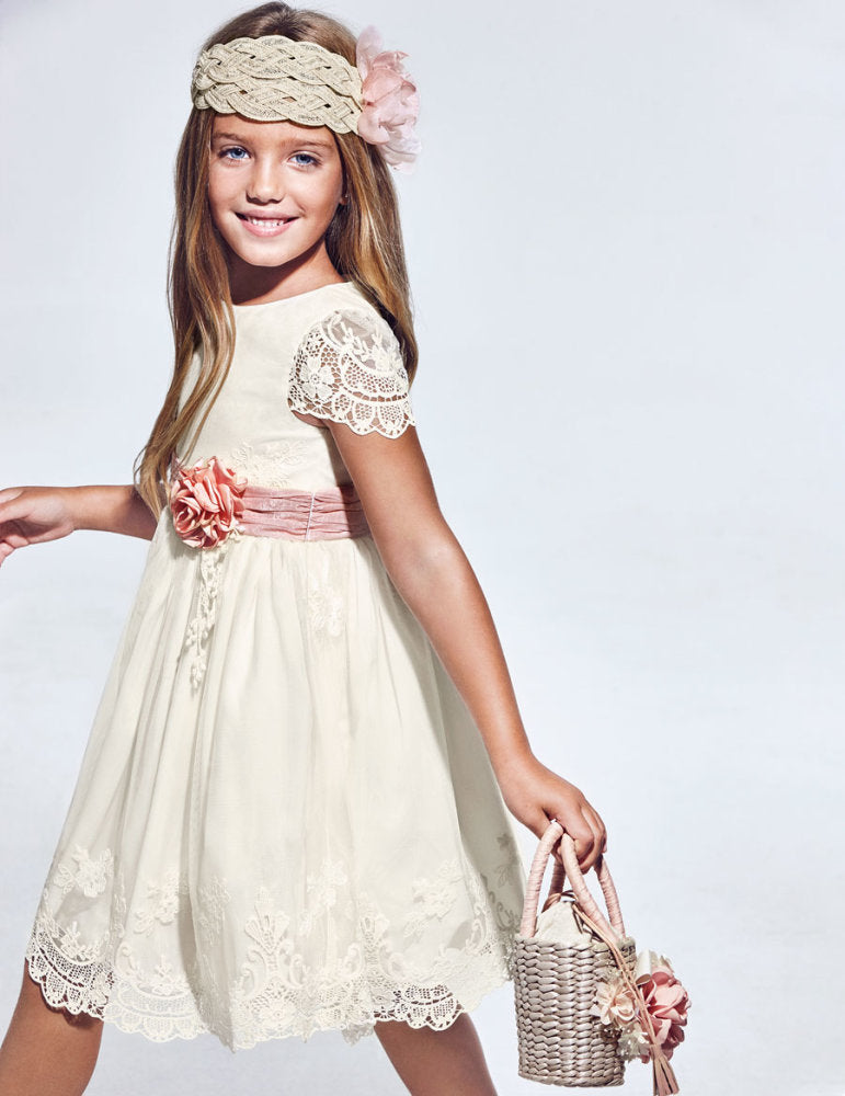 Embroidered Tulle Dress for Girl Cream