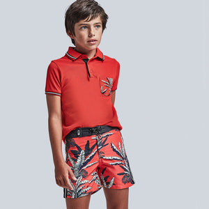 Tropical Stamp Swimsuit for Teen Boy Hibiscus