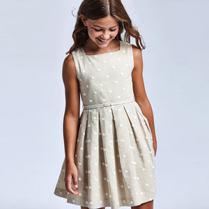 Linen Embroidered Dress for Teen Girl Linen