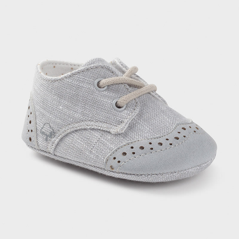 Mixed Texture Shoe for Newborn Boy Gray