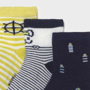 3 Socks Set for Baby Boy Lime