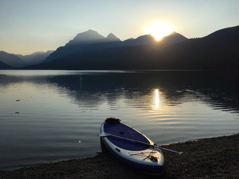 Glacier National Park lake at sunrise