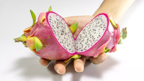 dragon fruit, cut to show inside