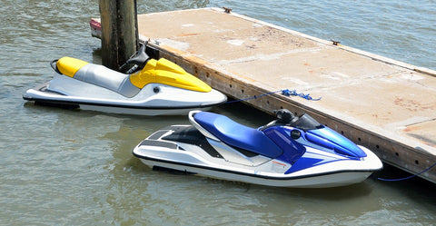 Personal Watercraft (PWC) secured to a dock