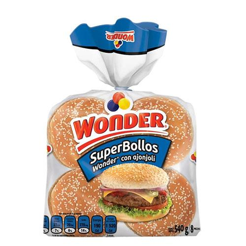 Pan super bollos wonder 540 gr pza