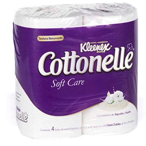 Papel sanitario kleenex cottonnelle soft care 4 rollos pza