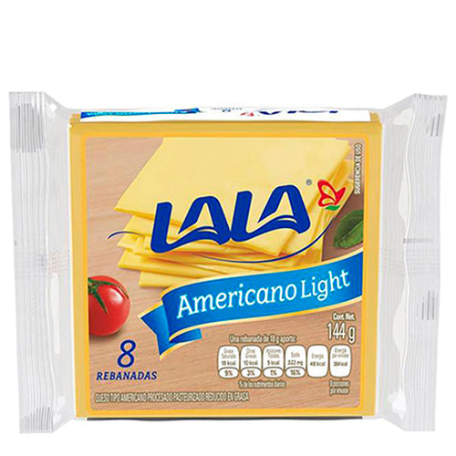 Queso amarillo americano light lala 144gr pza