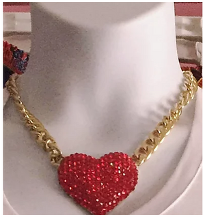 Gold Red Rhinestone Heart Necklace