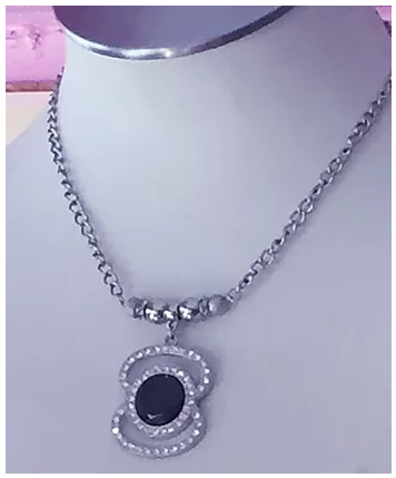 Silver and Black Stoned Rhinestone Necklace