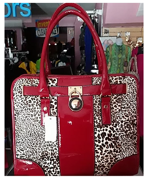 Red Leopard Print Hand Bag