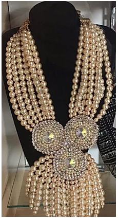 Pearl Rhinestone Statement Necklace Set