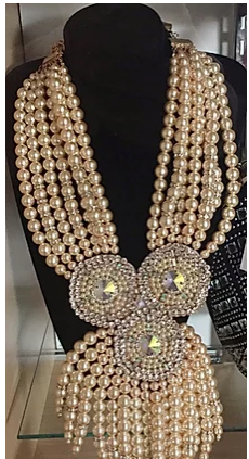 White Pearl Rhinestone Statement Necklace Set