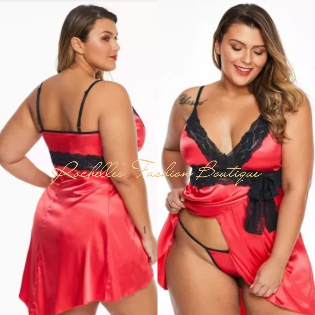 Red Lace V Neckline Plus Size Babydoll