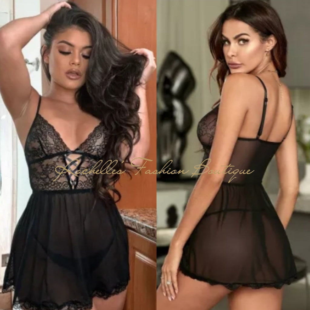 Sexy See Through Babydoll Lingerie Set