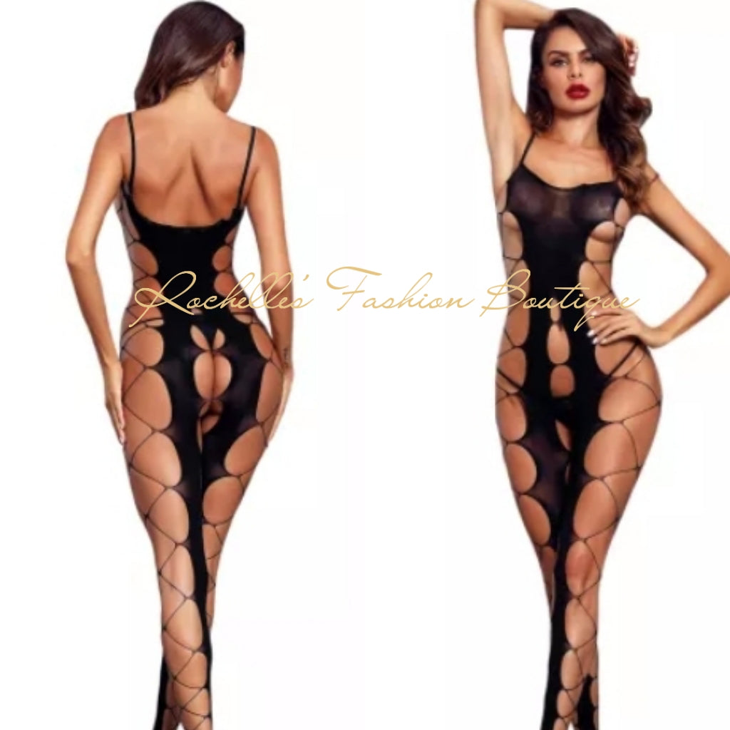 Red Fishnet Big Holes Open Crotch Body Stocking