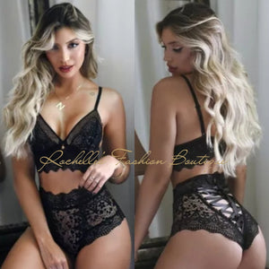 Black Strappy Lace Up Panty Set