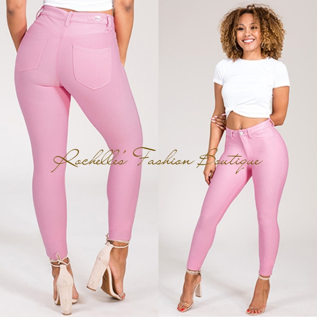 Pink Muffin  Top High Rise Strength Pants