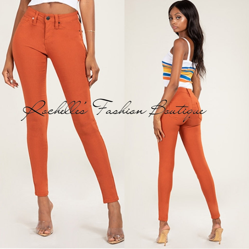 Rust Muffin  Top High Rise Strength Pants