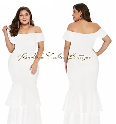 White Off the Shoulder Long Mermaid Dress