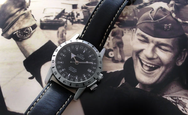 Glycine Airman No 1 with black dial black band and vintage pic of pilot