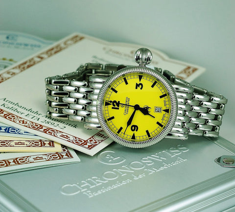 Chronoswiss Timemaster CH 2833 Watch with yellow dial and papers
