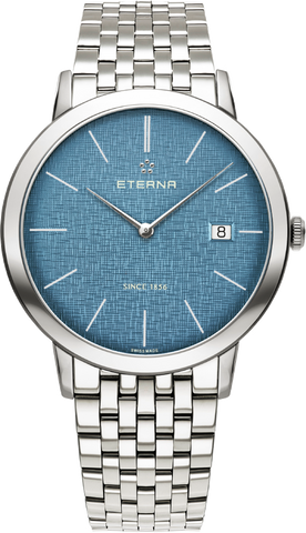 Eterna Eternity for him blue dial w stainless steel case and bracelet