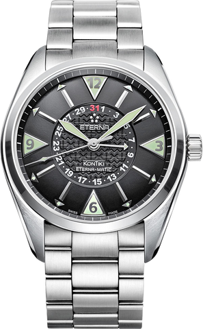 ETERNA - KONTIKI 4 HANDS ETERNA-MATIC blk dial Stainless steel case w bracelet