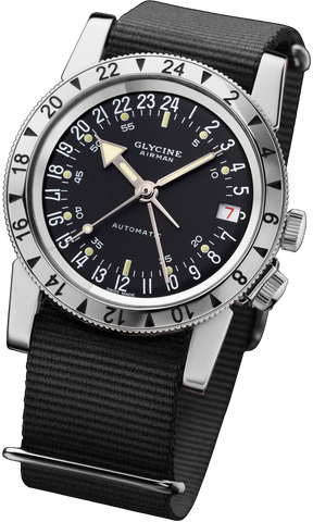 Glycine Airman No 1 Pilot's watch with black dial and black Nato Strap