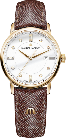 Maurice Lacroix Eliros Date Ladies Watch White dial w gold tone case and brown strap