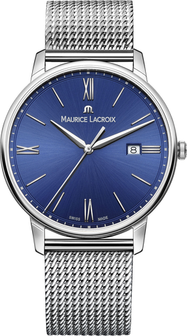Maurice Lacroix Eliros Date blue dial stainless steel case metal mesh band
