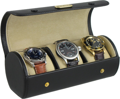 Orbita Verona open leather watch case with 3 watches