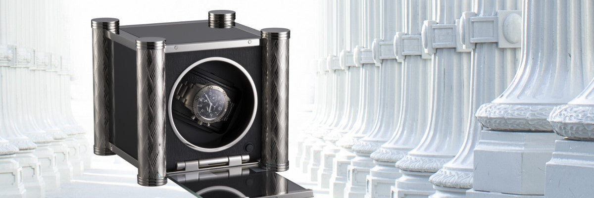 Prestige K10-1 Watch Winder from RDI - Charles Kaeser with white Roman column background